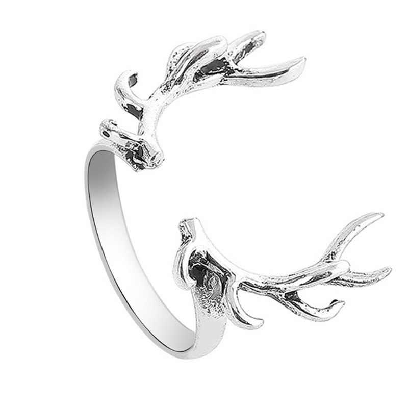 OMHXZJ ขายส่งยุโรปผู้หญิงผู้หญิงแฟชั่นผู้หญิงงานแต่งงานของขวัญเงิน Elk Head เปิด 925 เงินสเตอร์ลิงแหวน RR281