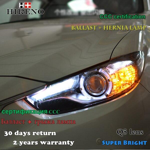 Hireno Headlamp for 2013-2015 Mazda 6 Mazda6 atenza Headlight Assembly LED DRL Angel Lens Double Beam HID Xenon 2pcs hireno headlamp for 2015 2017 hyundai ix25 crete headlight assembly led drl angel lens double beam hid xenon 2pcs