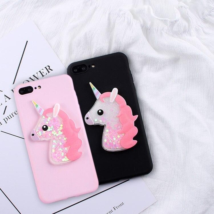 Galleria fotografica for Xiaomi MI A1 5X cover Cute 3D Cartoon Squishy quicksand Glitter Unicorn TPU Phone Case for Xiaomi Mi A1 coque