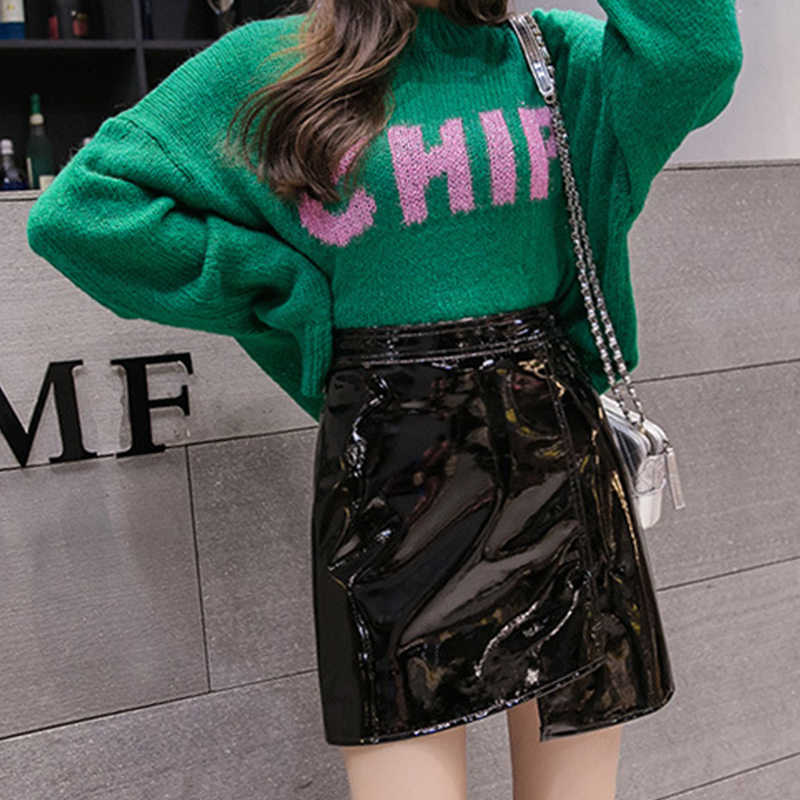 66862865d20 2019 Korean Wild Solid Color Skirts Women Sexy PU Leather Short Skirt  Fashion High Waist Stretchy A-line Mini Skirt
