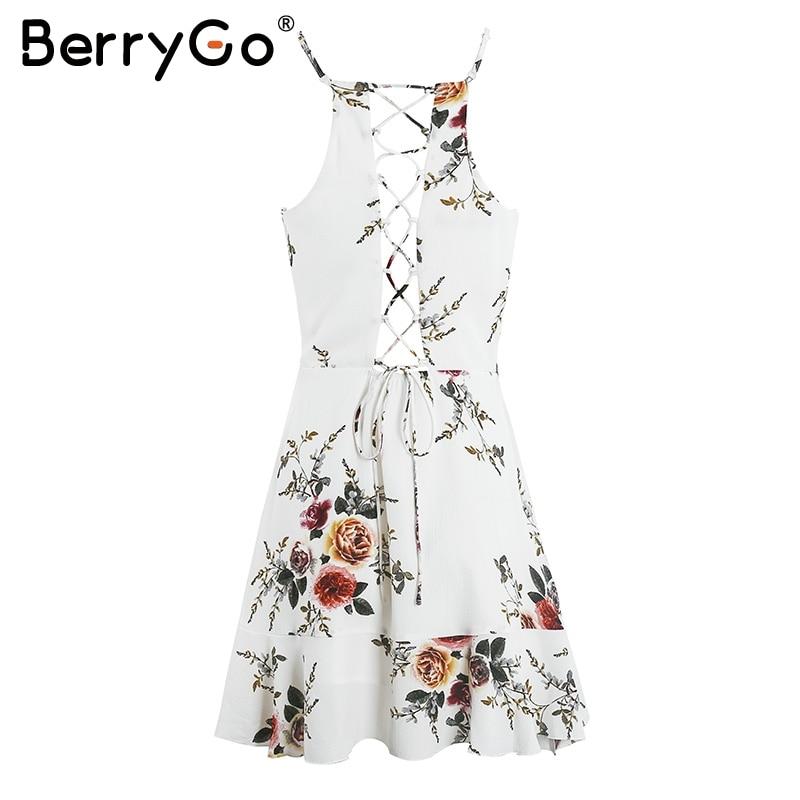BerryGo lace up flower print summer dress women V neck ruffles bandage sexy dress Sleeveless party short dresses 4