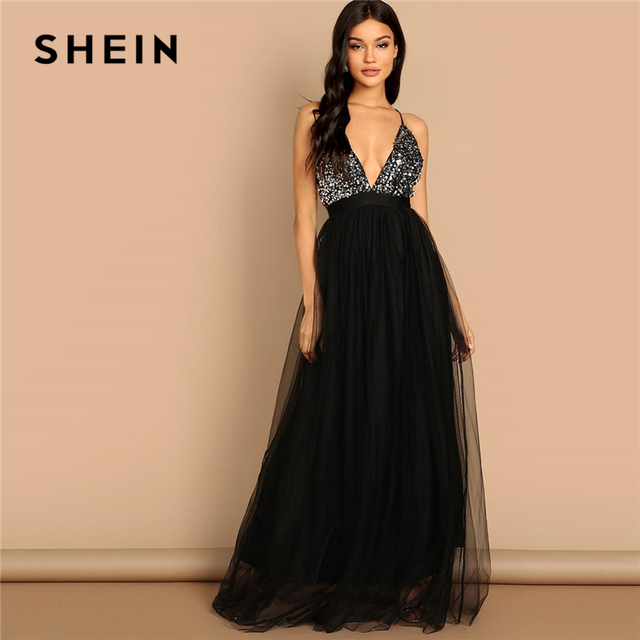eea14dd5d05 SHEIN Black Crisscross Back Sequin Bodice Mesh Halter Deep V Neck Fit and  Flare Solid Slim