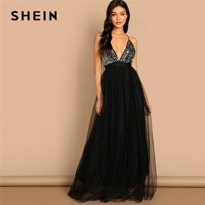 Image 1 - SHEIN noir entrecroisé dos Sequin corsage maille licou col en V profond ajustement et Flare solide mince longue robe automne femmes robes de fête