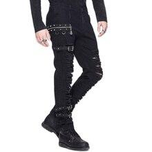 Мужские зимние повседневные черные брюки в стиле стимпанк, готические мужские длинные брюки, облегающие узкие брюки с дырками, немного эластичные брюки PT040