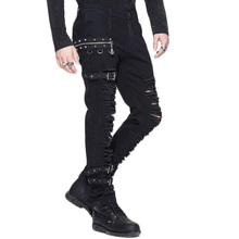 Steampunk Man Winter Casual Black Pants Gothic Personality Men's Long Trousers Slim Fit Hole Pencil Pants Slight Elastic PT040