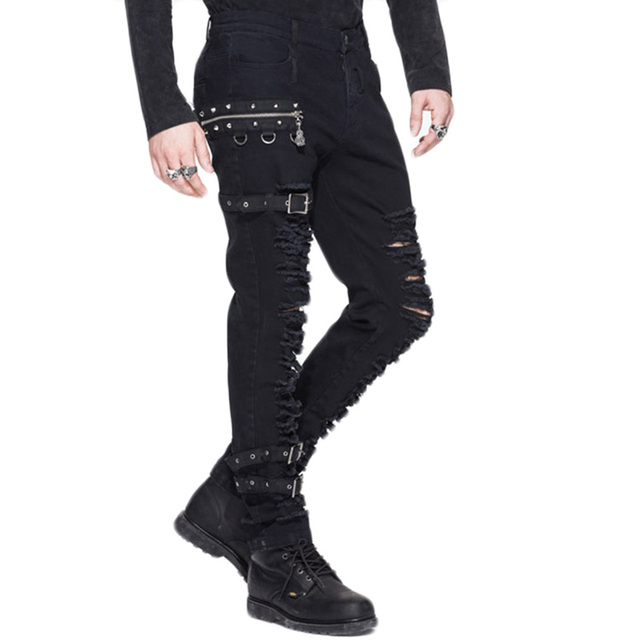 Steampunk Man Winter Casual  Black Pants Gothic Personality Men's Long Trousers Slim Fit Hole Pencil Pants Slight Elastic PT040