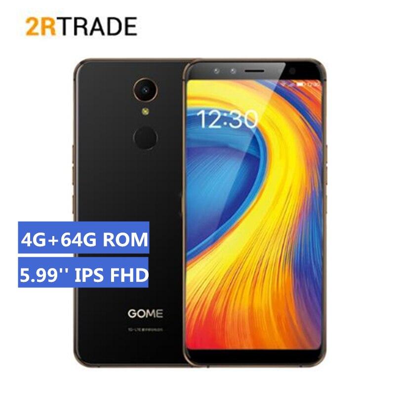 Original GOME U7 5.99 Inch 2160x1080 pixels IPS Screen Octa core 4GB RAM 64GB ROM 13.0MP+13.0MP Fingerprint Iris Recognitio
