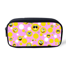 FORUDESIGNS Emoji Dot Printing Make Up Box Organizer Women Cosmetic Bag MIni Smile Case Female Children School Supplies Kids