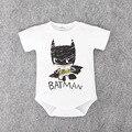 2016 Recém-nascidos Roupas Ropa Bebe Algodão de Manga Curta Superman Batman Bebê Menino Macacão de Bebê Roupas Do Corpo Do Bebê de Aniversário Traje Do Bebê