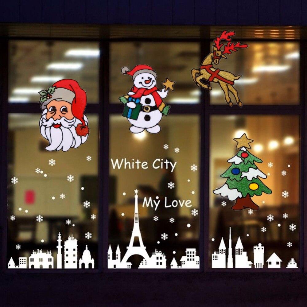 Us 113 22 Offnaklejki Szklane Silikonowe Duże Okna Szklane Drzwi Naklejki ścienne Boże Narodzenie Ozdoby świąteczne Dekoracje Na Boże Narodzenie