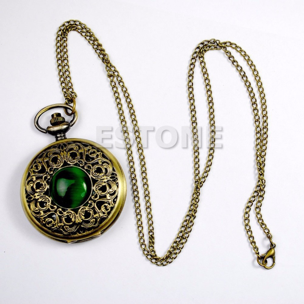 Vintage Antique Bronze Tone Pocket Chain Quartz Pendant New Watch Necklace Gift