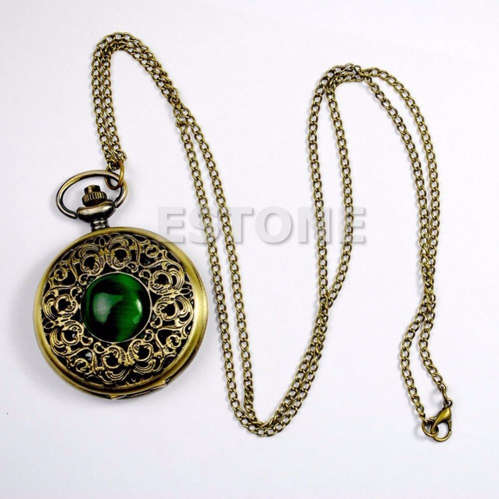 Vintage Antique Bronze Tone Pocket Chain Quartz Pendant New Watch Necklace Gift