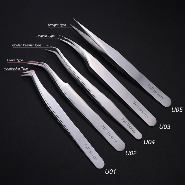 1pc Profession Stainless Eyebrow Tweezer Eyelash Flower Extension Beauty Makeup Tools High Precision Quality Tweezers CHU01-05 1