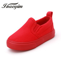 New Solid Color Children Canvas Shoes Unisex Boys Girls Casual Sneakers Slip On Kids Flat Shoes
