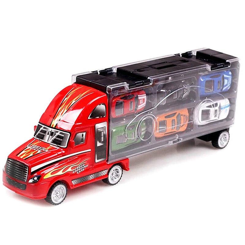 Caso di trasporto per autocarro autotrasportatore auto + 12 auto in lega da corsa Imposta modello di simulazione con pacchetto di vendita al dettaglio