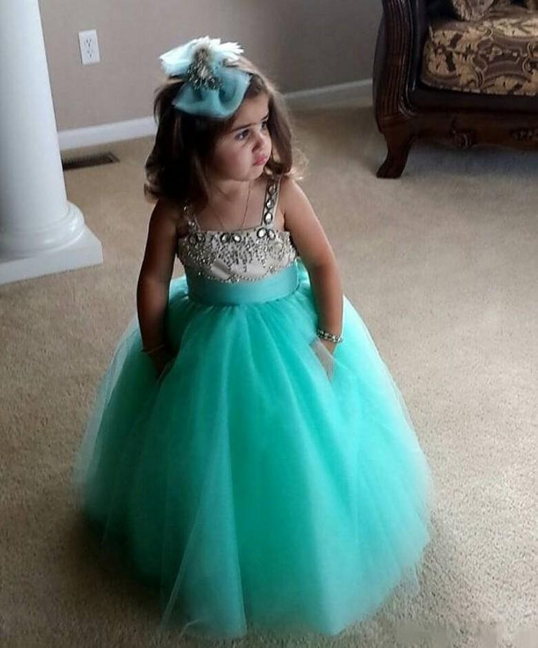 2015 Lindo Vestido Muchachas de Flor para Las Bodas Spaghetti Crystal Tul Palabra de Longitud Turquesa