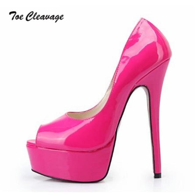 03b8b4c705 Toe Cleavage stilettos RED wedding shoes woman sexy 16cm Thin Heels Peep  Toe Platforms Crossdresser Pumps Plus:40-45 46 47 48