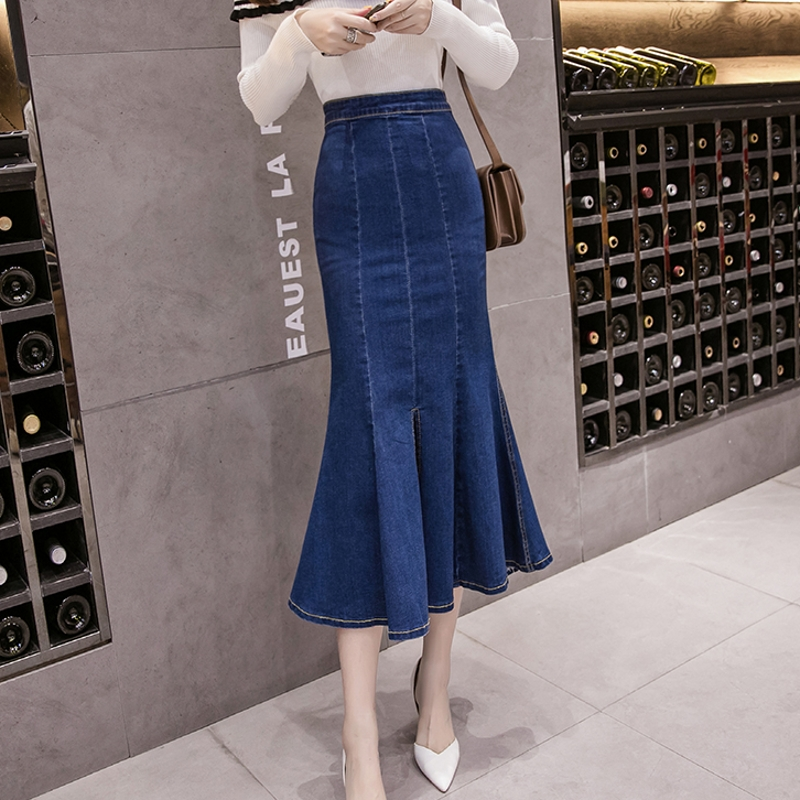 New 2019 Fish Tail Denim Skirt Women Mid-Calf Mermaid Trumpet Long Skirt Ruffles Zipper Empire High Waist Jeans Stretchy B92991