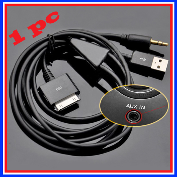 For Apple IPod Itouch IPhone 3 3GS 4 4s 5 5s Car Audio Data USB AUX Y-Cable I-Drive Car 3.5mm Music Connection