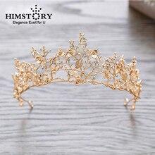 HIMSTORY Retro Gold Flower Branch Wedding Bridal Hair Accessories Bridesmaid Dragonfly Crystal Tiara Crown Headbands Hairwear