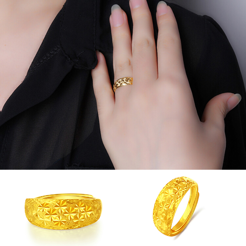 Hot sale Top Quality Adjustable 24K Gold Color Rings for Lovers