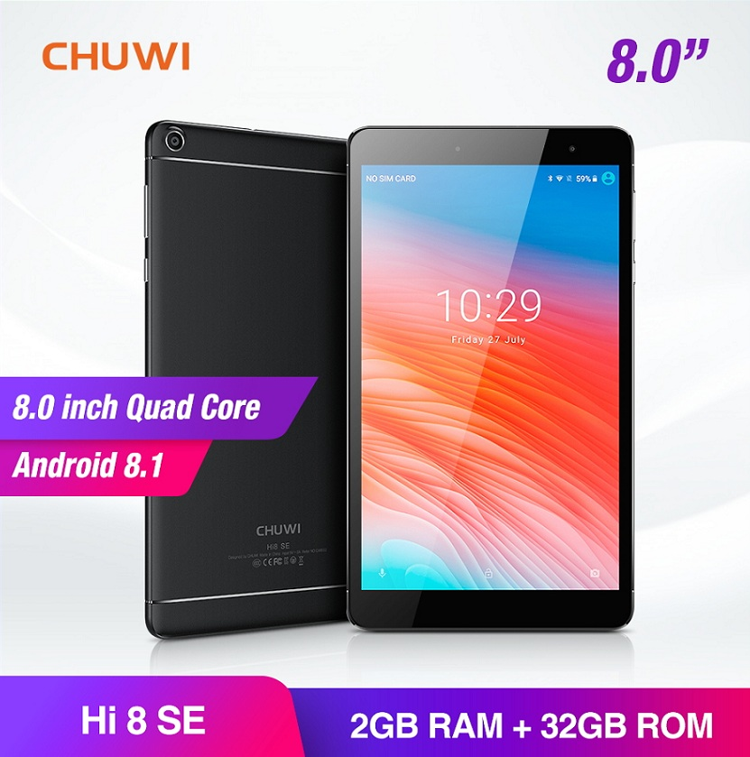 CHUWI Hi8 SE Android 8.1 MTK8735 Quad Core tablettes 2 GB RAM 32 GB ROM double caméra double WIFI 2.4G/5G 8 inch 1920*1200 tablette PC