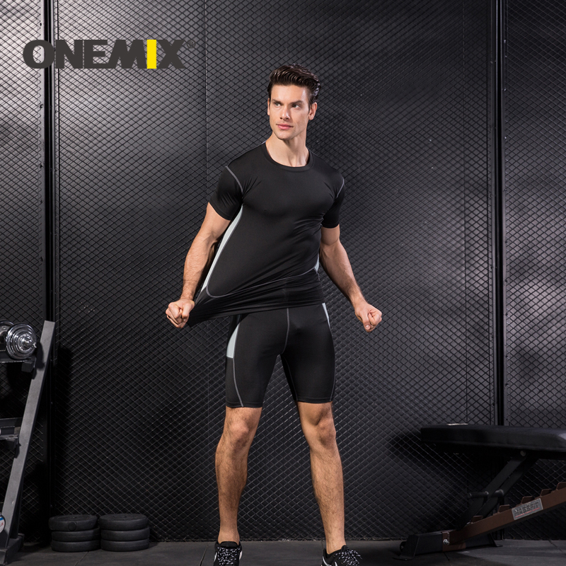 ONEMIX Running Quick Dry Gym Sportswear Fitness Tights Running Set Gym Sportswear Short Sleeve T-Shirt Mens sports suits