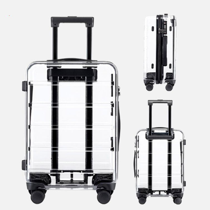 """CARRYLOVE 20 """"بوصة شفافة تحمل على حقيبة تروللي بعجلات سفر حقيبة 24"""" الصلب الجانب المتداول الأمتعة-في حقائب سفر بعجلات من حقائب وأمتعة على  مجموعة 1"""