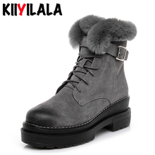 Kiiyilala New Side Zipper Genuine Leather Boots Winter Shoes Warm Fur Snow Boots Womens Platform Round Toe Ankle boots For Women wetkiss winter leather women ankle boots round toe print footwear fur warm female boot straw weave platform snow shoes woman new