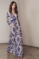 Top Mulheres da moda azul e BRANCO da porcelana de impressão Longo Maxi vestidos incríveis senhoras manga longa vestido de festa de Verão