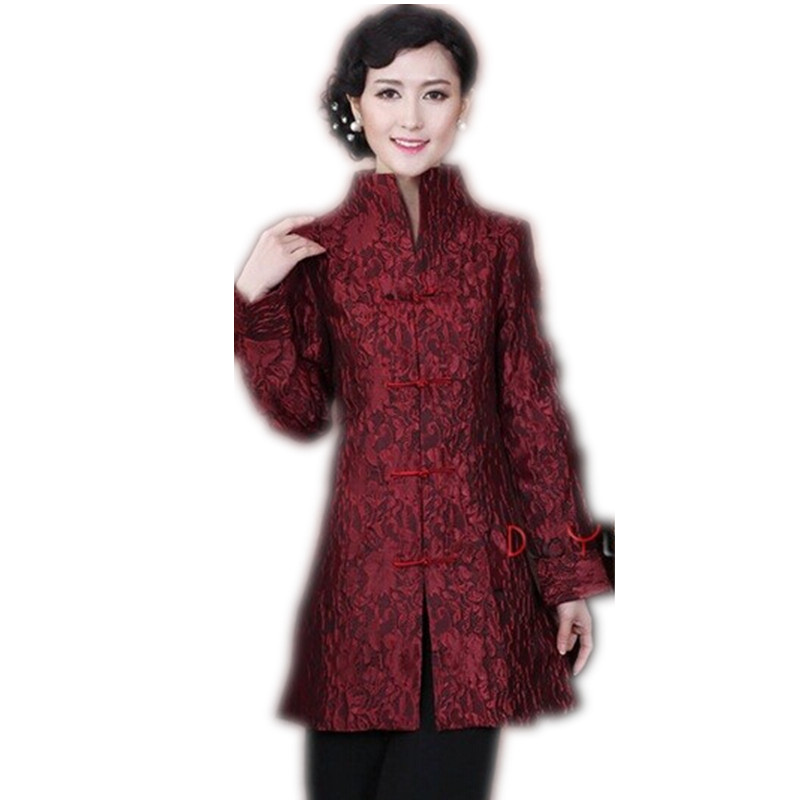 Discount Burgundy Chinese Lady Silk Satin Jacket Mandarin Collar Slim Outwear Button Flower Coat Free Shipping Size S To XXXL