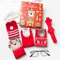 4 Paires Lot Chaussettes D'hiver 2018 Femmes Chaussettes Coton Épais 3D Oreilles Motif Animaux de Bande Dessinée Rouge Boîte De Cadeau De Noël Chaussette en gros