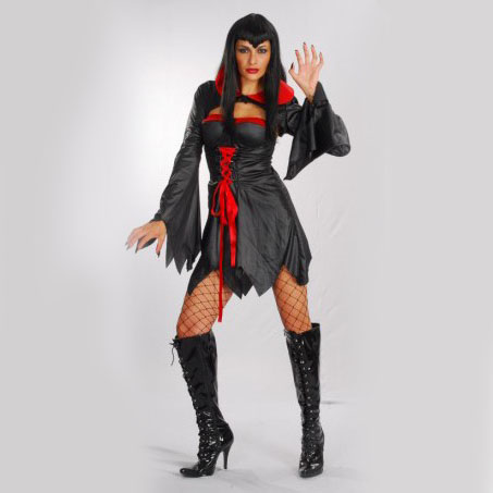 Free shipping ,Halloween party costume ,adult girl vampire dress demon clothes with shawl