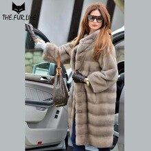 2018 Popular Iron Grey Full Pelt Mink Fur Coat Nature Real Fur Mink Coats For Women Outerwear Clothes Stand Collar All-match