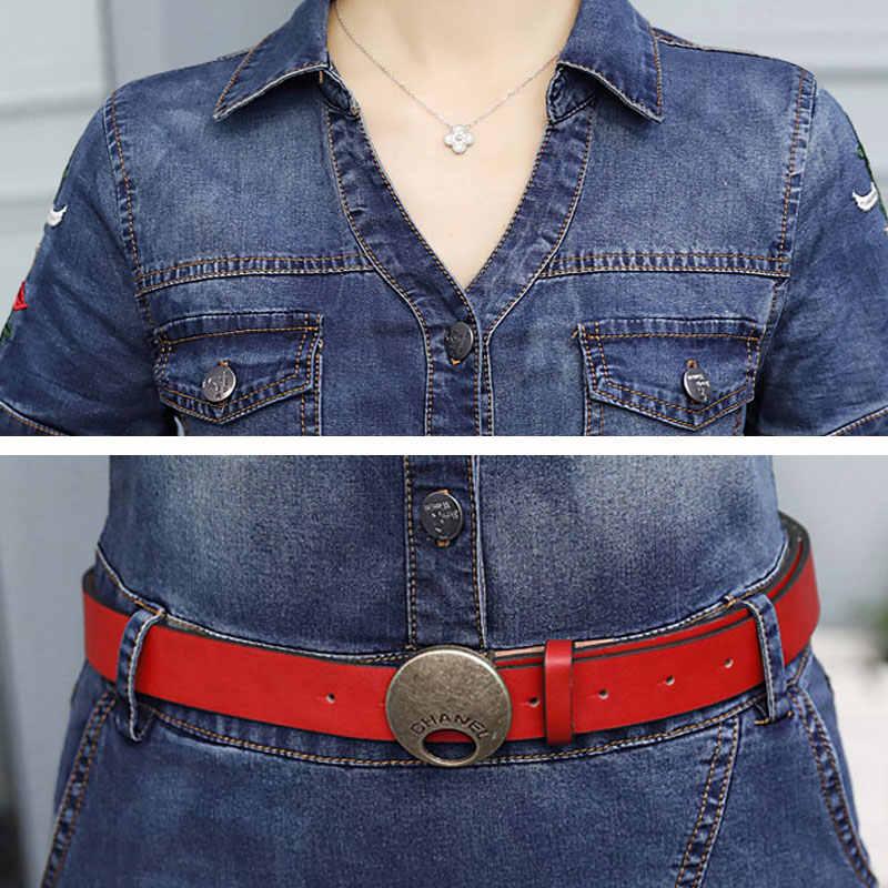 Новое летнее джинсовое платье женские джинсы большого размера тонкое платье с поясом короткий рукав сарафана Повседневный джинсовый комбинезон женское платье HS208