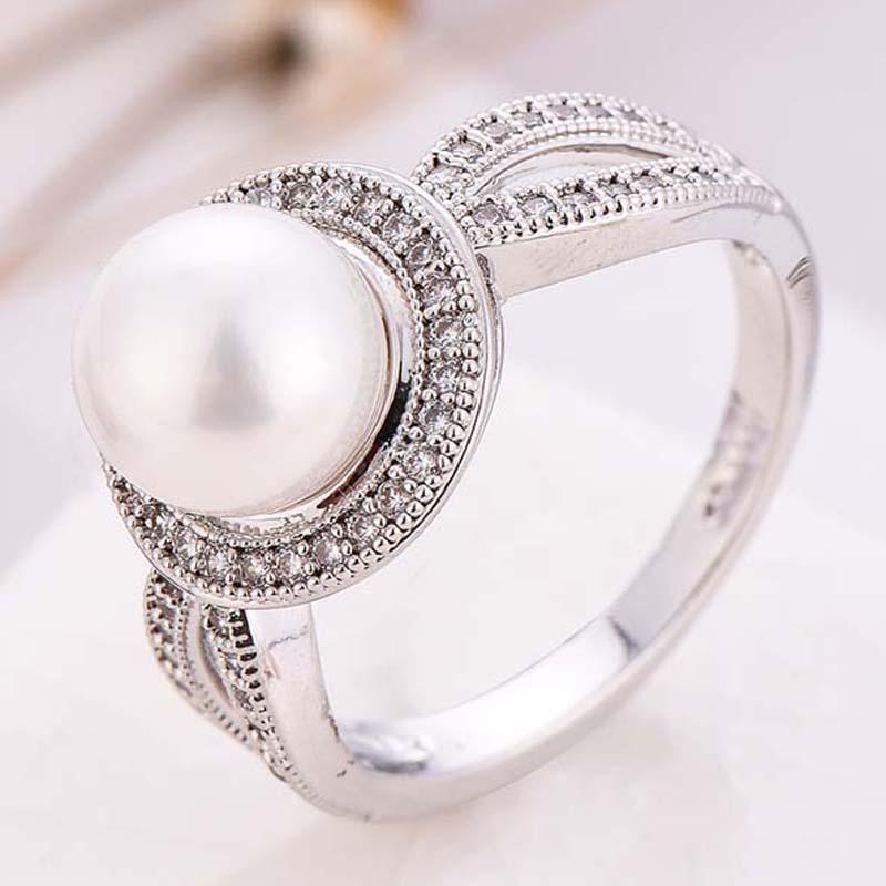 Pearl Wedding Rings: White Pearl Wedding Rings For Women Fashion Jewelry White