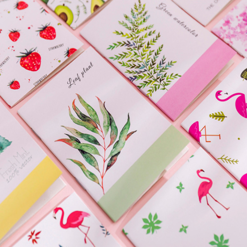 1pcs/lot Cute Flamingo Cactus Fruit cartoon Painting series Notebook Pocket Notepad Korea Stationery