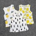 2016 fashion  ins children's baby cartoon  Pineapple strawberry treer pattern vest boy girl tops linen t-shirt