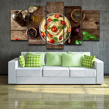 Hd Print 5 Pieces Posters Italian Cuisine Pasta Olive Oil Kitchen Room Decoration Canvas Paintings Wall Art Modular Pictures