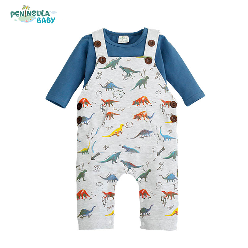 Newborn Dinosaur Baby Costume Boy Clothing Set Bib Pants+ Long Sleeve T-shirts 2pcs Set Cartoon Car Clothes Baby Warm Overalls cute newborn baby boy girl clothes set bear cotton children clothing summer costume overalls outfits t shirt bib pants 2pcs set