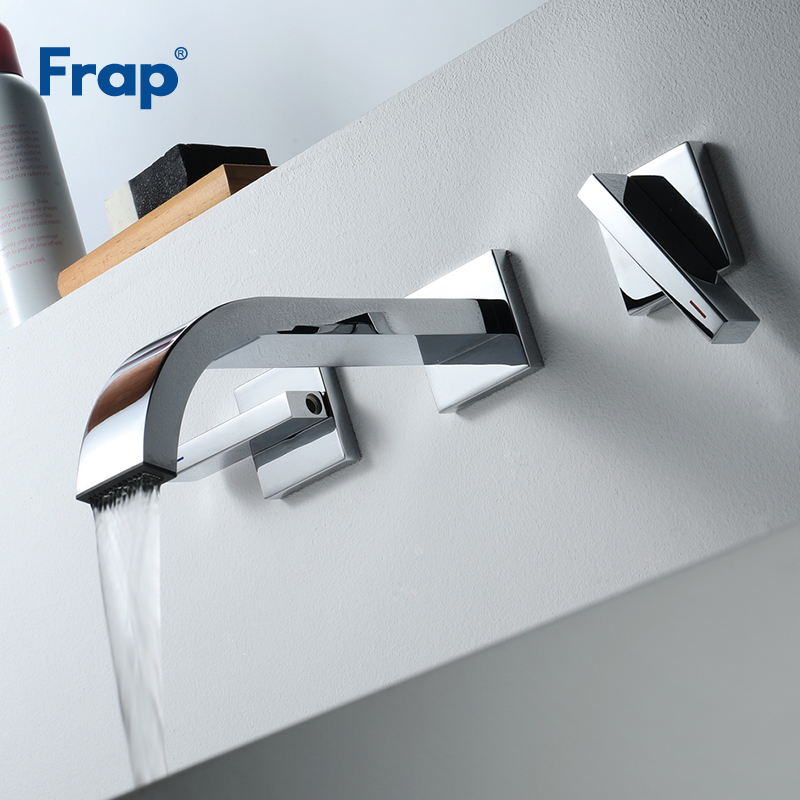 Frap New Basin Faucets Wall Mounted Brass Bathroom Sink Basin Mixer Tap Chrome Faucet Dual Handle Bathroom Wash Taps Y10165