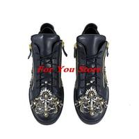 Luxe Merk Ontwerp Star Mannen Schoenen Voor Lace Up Flats Side Zip Stijlvolle Schoenen Crystal Verfraaid Mannen Sneakers Hommes Chaussures