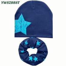 Nuevos sombreros de los niños del algodón del otoño del otoño fijados Muchachos de los bebés gorros de las gorritas gorra del niño del niño bufanda del sombrero de los cabritos 4-12 años