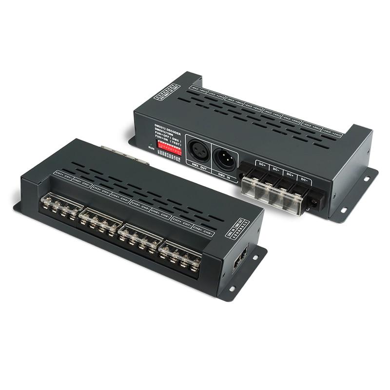 New LTECH Led DMX Decoder DC 5V 12V 24V 8 Channel 6A*8CH 48A Output DMX Decoder RJ45 XLR-3 output 0-100% Bright Led CV decoder new ltech din rail dmx decoder din 808 8ch cv dmx decoder dc12v input 3a 8ch output 8 channel dmx512 led rgbw strip cv decoder