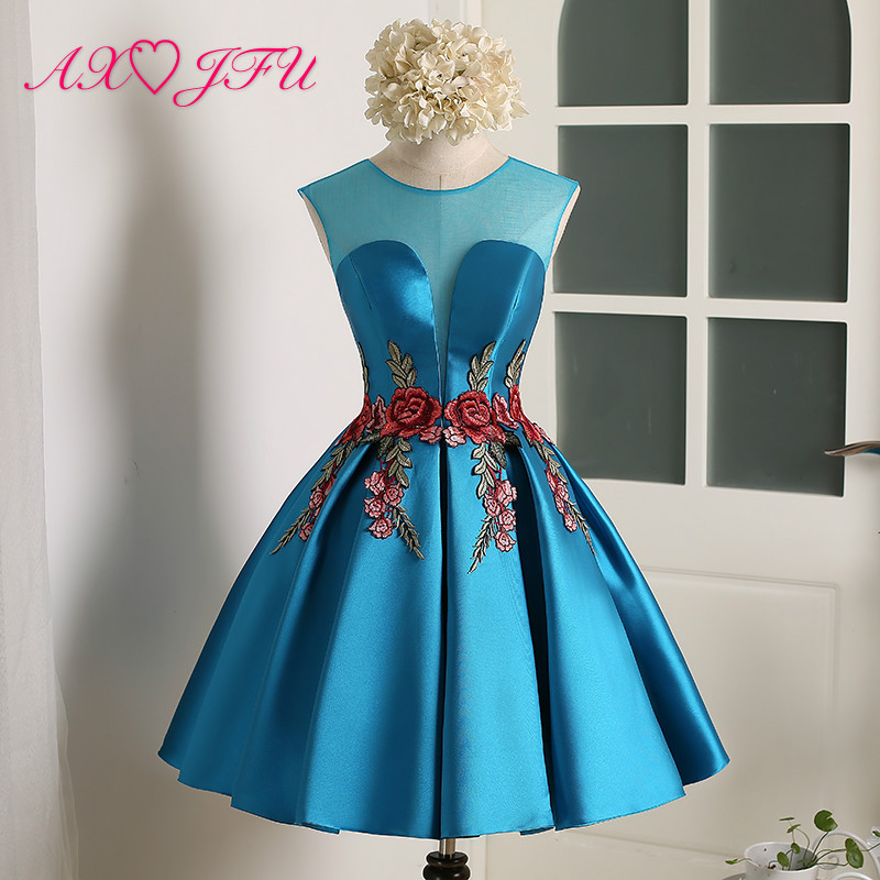 AXJFU princess blue satin beading embroidery red rose Short evening Dresses Sexy Bride Party flower o