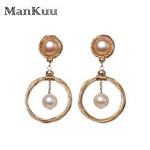 ManKuu New Arrival Baroque Pearl Earrings Round Shape Double Color Pearl 14K Gold Jewelry Freshwater Pearl Earrings For Wedding