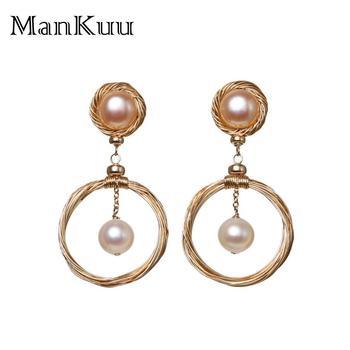 b06ea9c38a4e ManKuu nueva llegada barroco perlas forma redonda doble Color perla 14 K  oro joyas de agua dulce perla pendientes para la boda