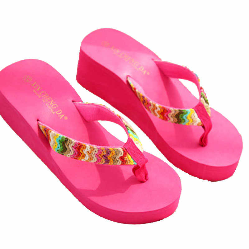 d142f164e Summer Platform Sandals Beach Flat Wedge Patch Flip Flops Lady Slippers  high heels ladies slippers and