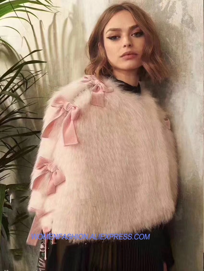 Vetement femme 2018 pink cape female jacket lovely rosette blouses vadim fashion fur cape coat cute temperament beauty clothes