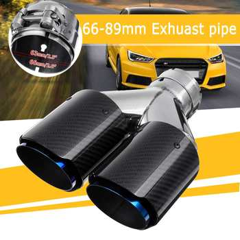 66mm Inlet 89mm Outlet Car Universal Glossy Carbon Fiber Dual Exhaust Pipe Tail Muffler Tip Y Model Exhaust Pipe